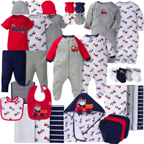 Gerber Newborn Baby Boy Perfect Baby Shower Gift Layette Set, 34-Piece