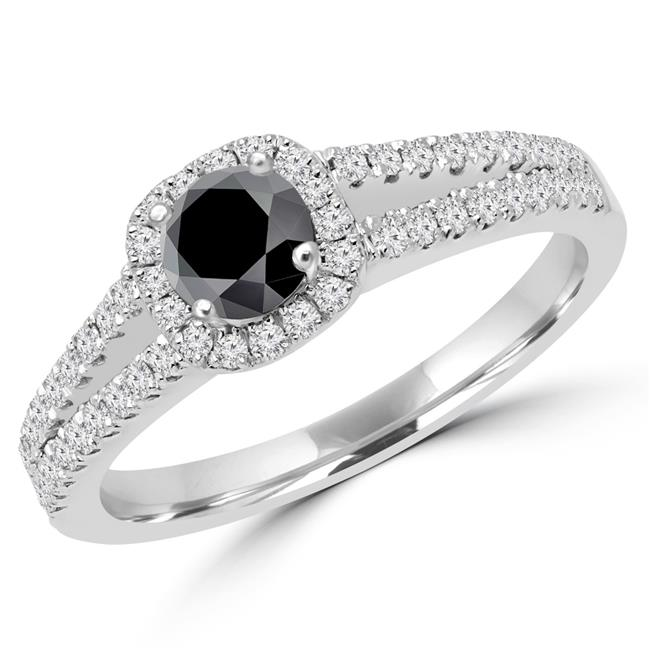 Majesty Diamonds MD170104-7.75 0.75 CTW Round Black Diamond Split Shank Halo Engagement Ring in 14K White Gold - Size 7.75 - image 1 de 1