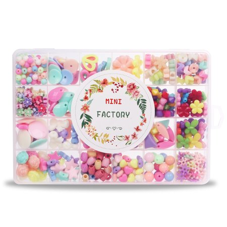 MINI-FACTORY Jewelry Making Kit DIY Necklace, Bracelet Crafts, Different Shapes of Colorful Acrylic Beads in Box for Children