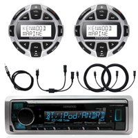 "Kenwood Marine Boat Yacht Digital Media USB AUX Bluetooth Stereo Receiver (No CD), 2x Digital LCD Display Wired Remote, 40"" Enrock AM/FM Antenna, Y-Cable Splitter Adapter, 2x 7 Meter 22 Ft Extension"