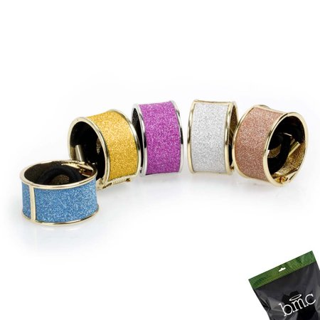 BMC Womens 5 pc Alloy Metal Glitter Cuff Wrap Ponytail Holder Hair Tie Fashion Accessory - Ponytail Accessories