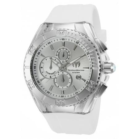 Technomarine Tm-115215 Men's Star Cruise Chrono White Silicone Ss Case Silver-Tone Dial Watch