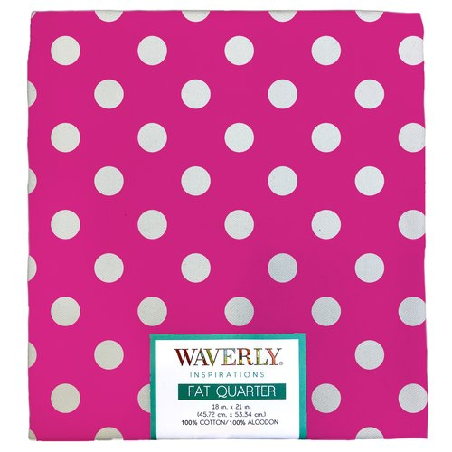 "Waverly Inspiration Big Dot Magenta Fat Quarter 100% Cotton, Bigdot Print Fabric, Quilting Fabric, Craft fabric, 18"" by 21"", 140 GSM"