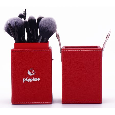 14-pc Premium Synthetic Bristles Makeup Brush Set with Designer Case, Red (Red And Black Make Up Brush Set)