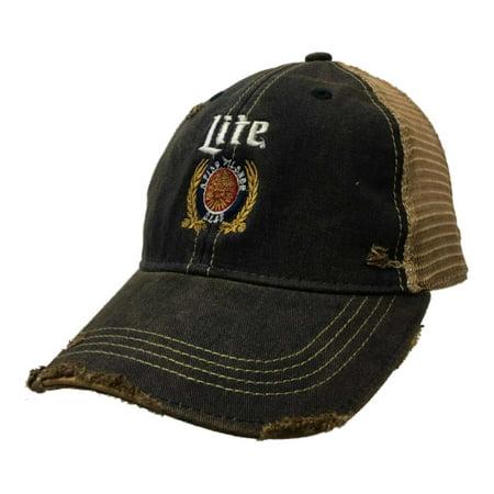 Miller Lite Brewing Company Retro Brand Vintage Mesh Beer Adjustable Hat (Beer Box Hat)