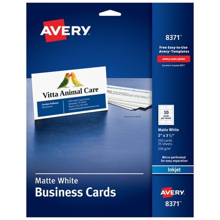 Avery Printable Business Cards, Inkjet Printers, 250 Cards, 2 x 3.5 (8371)