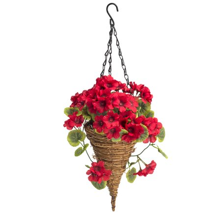 "OakRidge Fully Assembled Geranium Cone Basket, Red – Artificial Polyester/Plastic Florals for Indoor and Outdoor Use – 20"" -"
