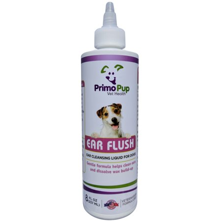 EAR FLUSH for Dogs - Primo Pup Vet Health - Veterinarian Formulated to Clean and Deodorize, Dissolve Wax Build-up, Reduce Irritation and Help Prevent Infection - Gentle Liquid Cleanser - 8 fl