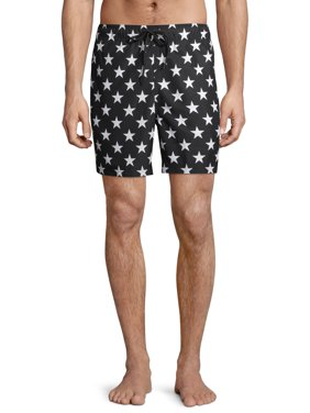 """George Men's and Big Men's 6"""" Americana Stars and Stripes Swim Trunk, up to Size 3XL"""