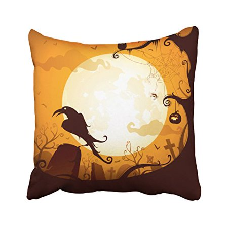 WinHome Decorative Pillowcases Halloween Graveyard Scenes Raven Pumpkin Spider Throw Pillow Covers Cases Cushion Cover Case Sofa 20x20 Inches Two Side](Lighting For Halloween Graveyards)