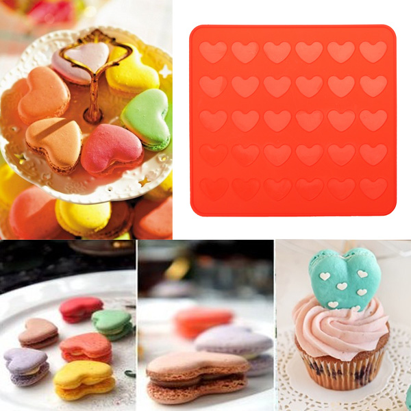 Meigar Silicone Heart Shaped Reusable Macaron Mat Pastry Sheet Muffin Tray Baking Mold