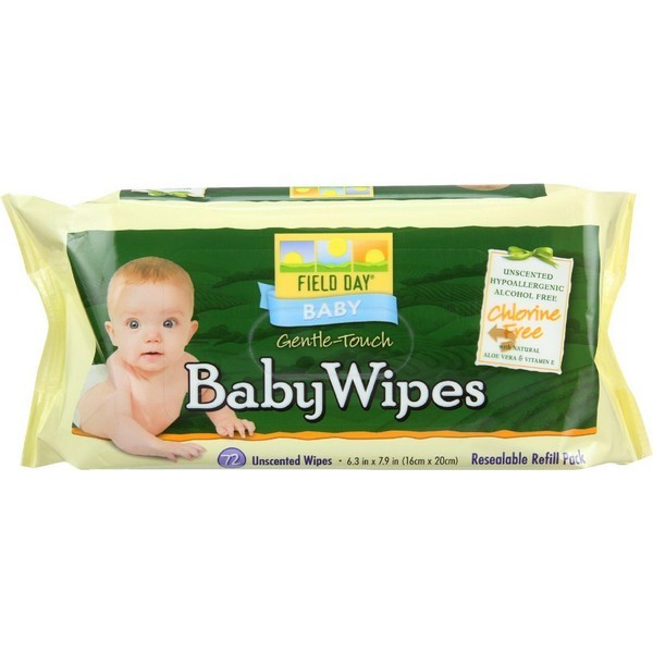 Field Day Baby Wipes Refill For Tub 72 Count Pack of 12 by Field Day