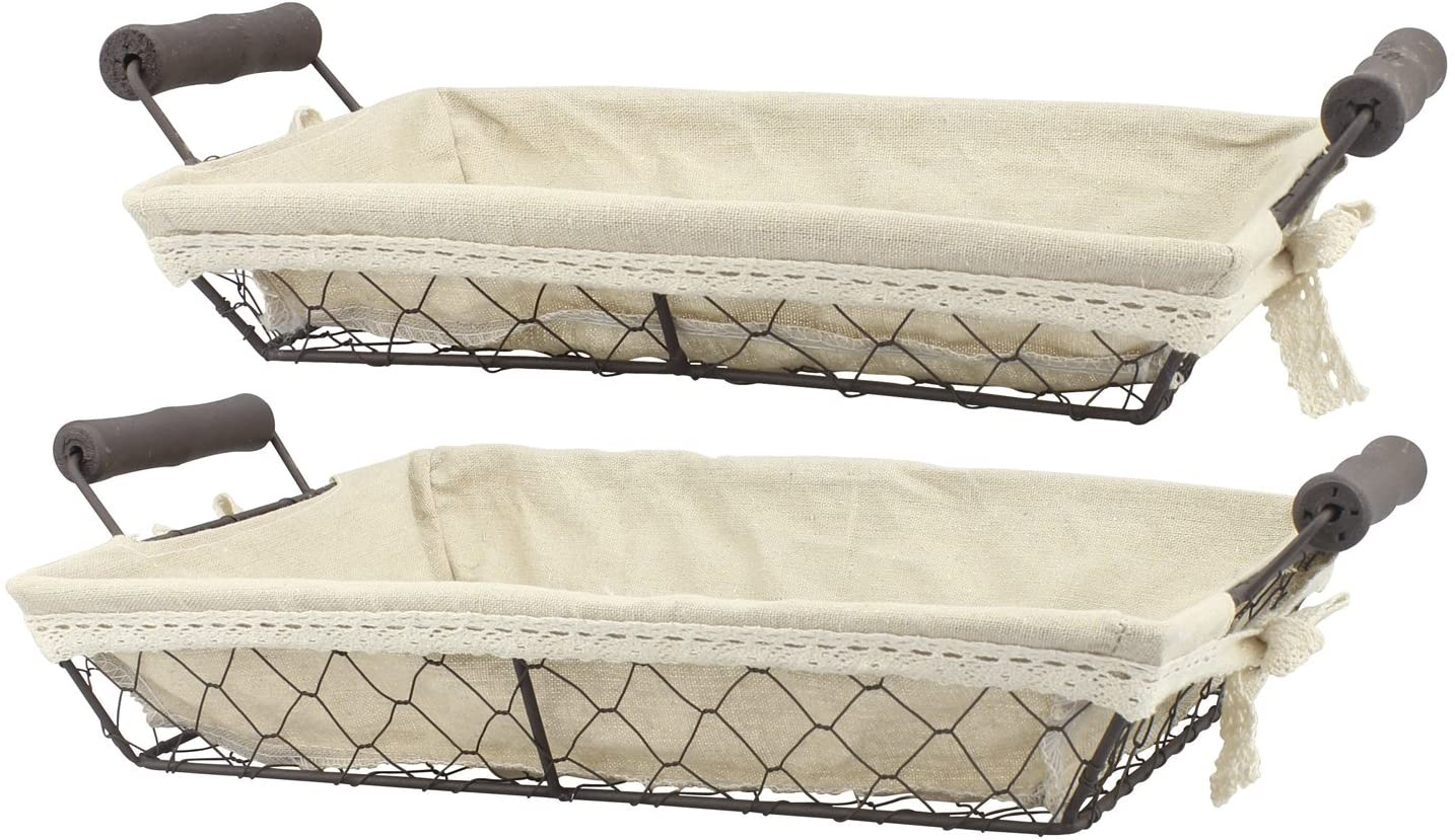 2pc Rectangle Metal Serving Basket Set With Decorative Fabric Lining Rustic Serving Trays For Parties Centerpiece For Coffee Or Dining Table Document Organizer For Office Or Kitchen Walmart Canada