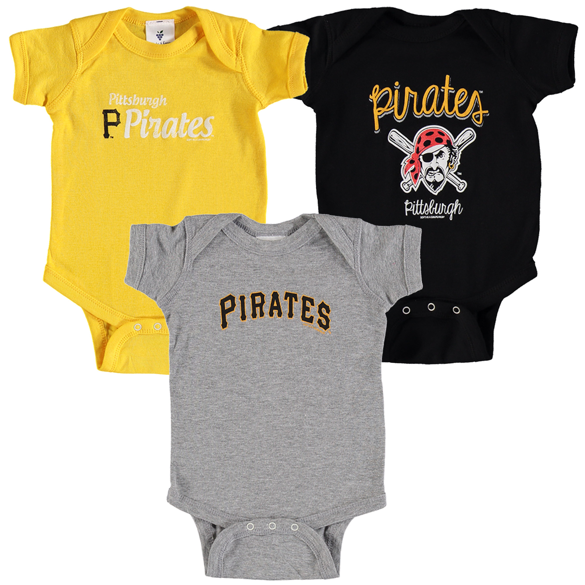 Pittsburgh Pirates Soft as a Grape Infant 3-Pack Rookie Bodysuit Set - Black