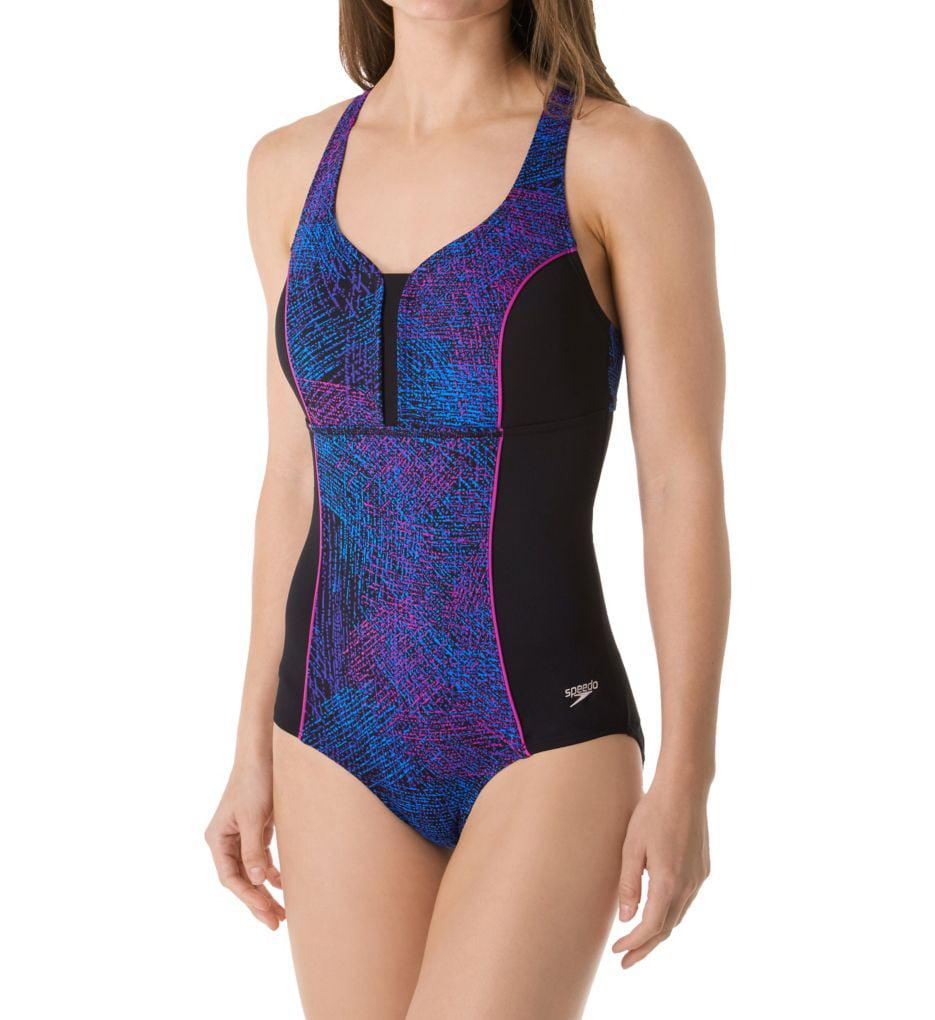 Women's Speedo 7723209 Endurance Lite Print Touchback One Piece Swimsuit