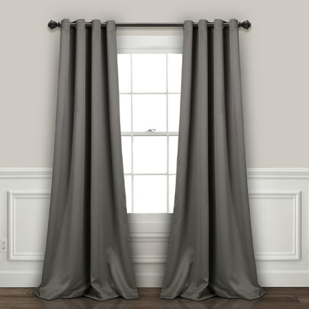 Lush Decor Insulated Grommet Blackout Window Curtain Panels Dark Gray Set 52x108