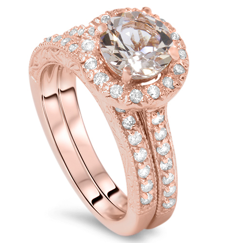 1 7 8CT Vintage Morganite & Diamond Engagement Wedding Ring Set 14K Rose Gold by Pompeii3