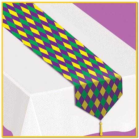 Club Pack of 12 Green, Gold and Purple Printed Mardi Gras Table Top Runner Decoration 6' - Mardi Gras Decorations Clearance