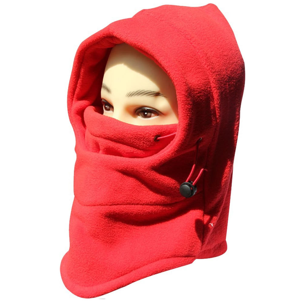 6 In 1 Double Layers, Thermal Warm Fleece Thicken Balaclava Hood Full Face Cover Mask - Red