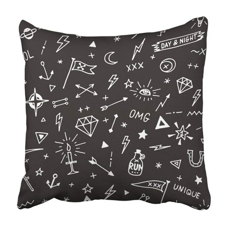 BPBOP Doodle Pattern With Old School Tattoo Black And White Diamond Anchor Drawn Hand Hipster