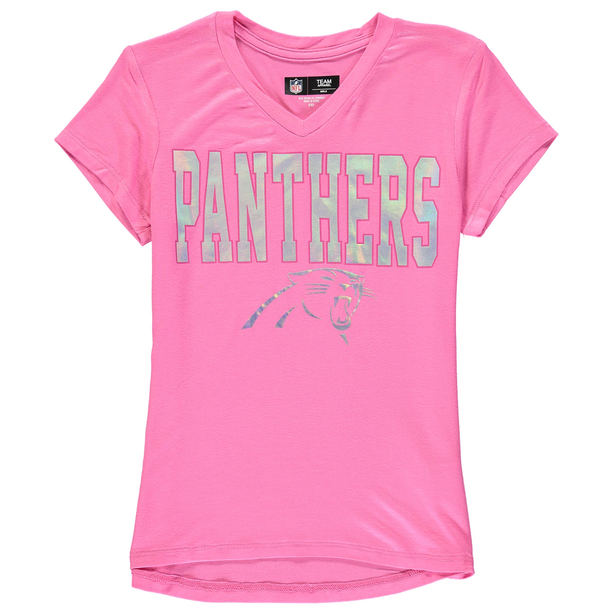 Carolina Panthers 5th & Ocean by New Era Youth Girls V-Neck T-Shirt - Pink