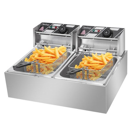 ZOKOP EH82 5000W MAX 110V 12.7QT/12L Stainless Steel Double Cylinder Electric Fryer US Plug Electric Countertop Deep Fryer French Fry Restaurant (Deep Kitchen)