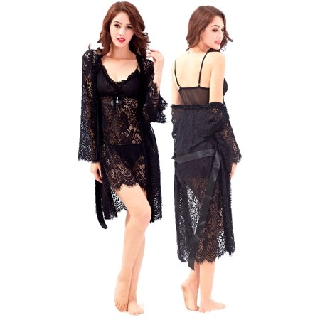 Amelia Women's Lingerie Baby Doll Kimono Lace Nightgown Robe G-String 3 Piece Set (Baby Lingerie)