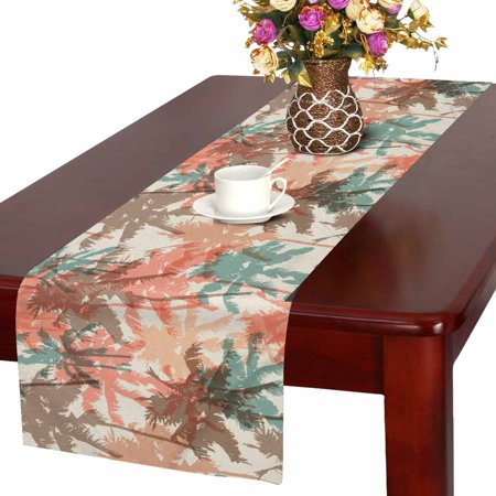 MKHERT Watercolor Palm Tree Table Runner, Tropical Coconut Table Cloth Runner for Wedding Party Banquet Decoration 16x72 inch - Palm Tree Table Decorations