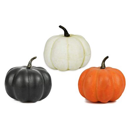 Black Duck Brand Halloween Decorative Pumpkins! Set of 3, 4.25