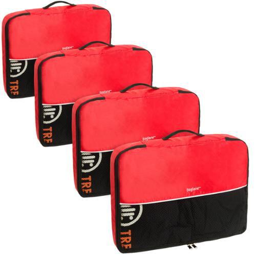 Baglane Red TechLife Nylon Luggage Travel Packing Cube Bags -4pc Set (Large)
