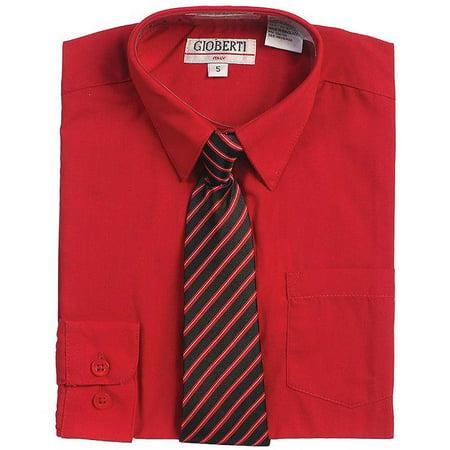 Red Button Up Dress Shirt Black Striped Tie Set Boys 5-18 ()