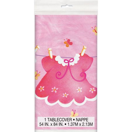 Plastic Clothesline Baby Shower Table Cover, 84 x 54 in, Pink, 1ct Baby Pink Plastic Table