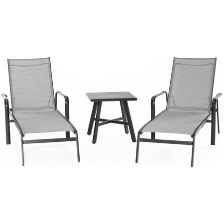Square Chisel (Hanover Foxhill 3-Piece All-Weather Commercial-Grade Aluminum Chaise Lounge Chair Set with 22
