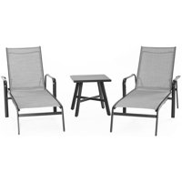 """Hanover Foxhill 3-Piece All-Weather Commercial-Grade Aluminum Chaise Lounge Chair Set with 22"""" Square Slat-Top Table"""