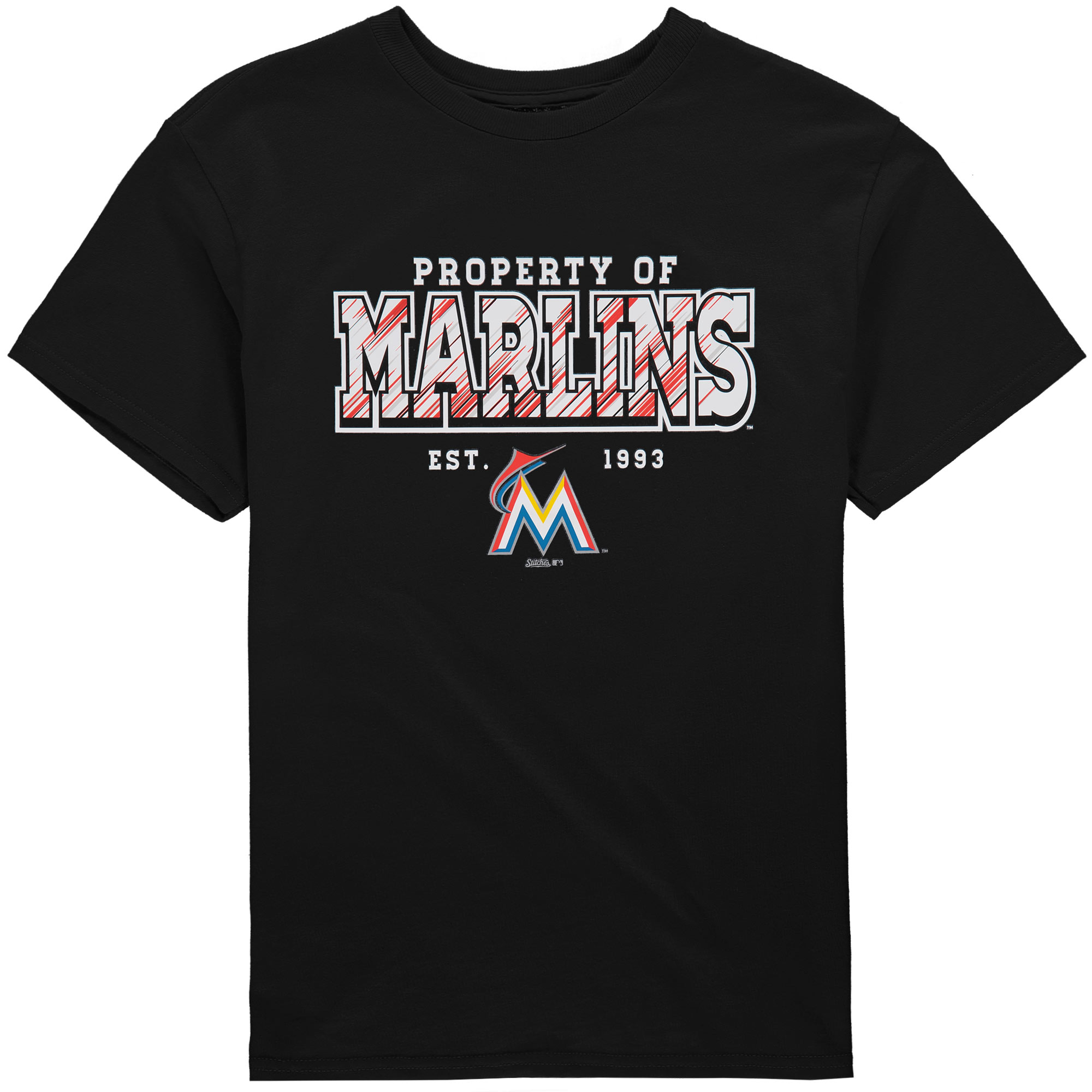Miami Marlins Stitches Youth Property Of Team T-Shirt - Black
