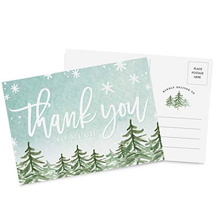 50 4x6 Thank You Christmas Holiday Postcards Bulk Set, Thank You Note Card Stationery for Holiday Gifts, Party ()