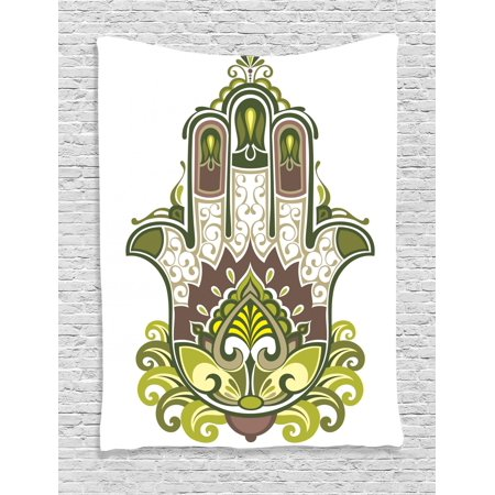 Hamsa Tapestry, Natural Elements Inspired Hamsa Hand with Branch and Leaf Nature Zen Harmony, Wall Hanging for Bedroom Living Room Dorm Decor, Green White Brown, by Ambesonne