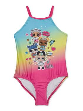 L.O.L. Surprise! Girls 5-8 Rainbow One-Piece Swimsuit