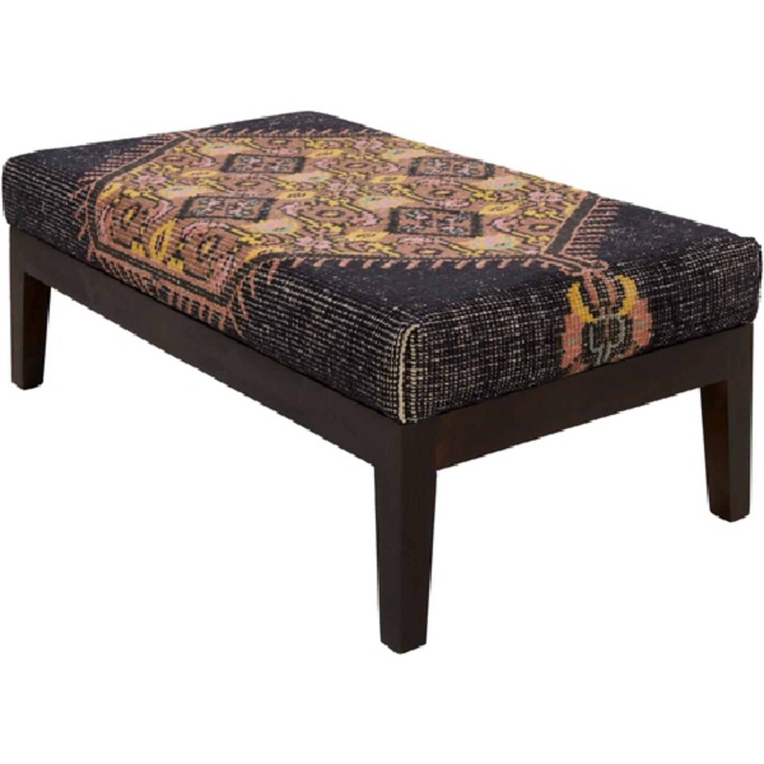 "47"" Zahra Deep Gray and Mauve Wool with Dark Stained Wood Legs Decorative Bench"