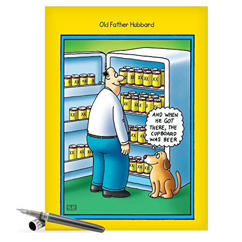 J0355 Jumbo Funny Father's Day Card: Old Father Hubbard Large Card With Envelope, NobleWorks Cards, Card for Dad