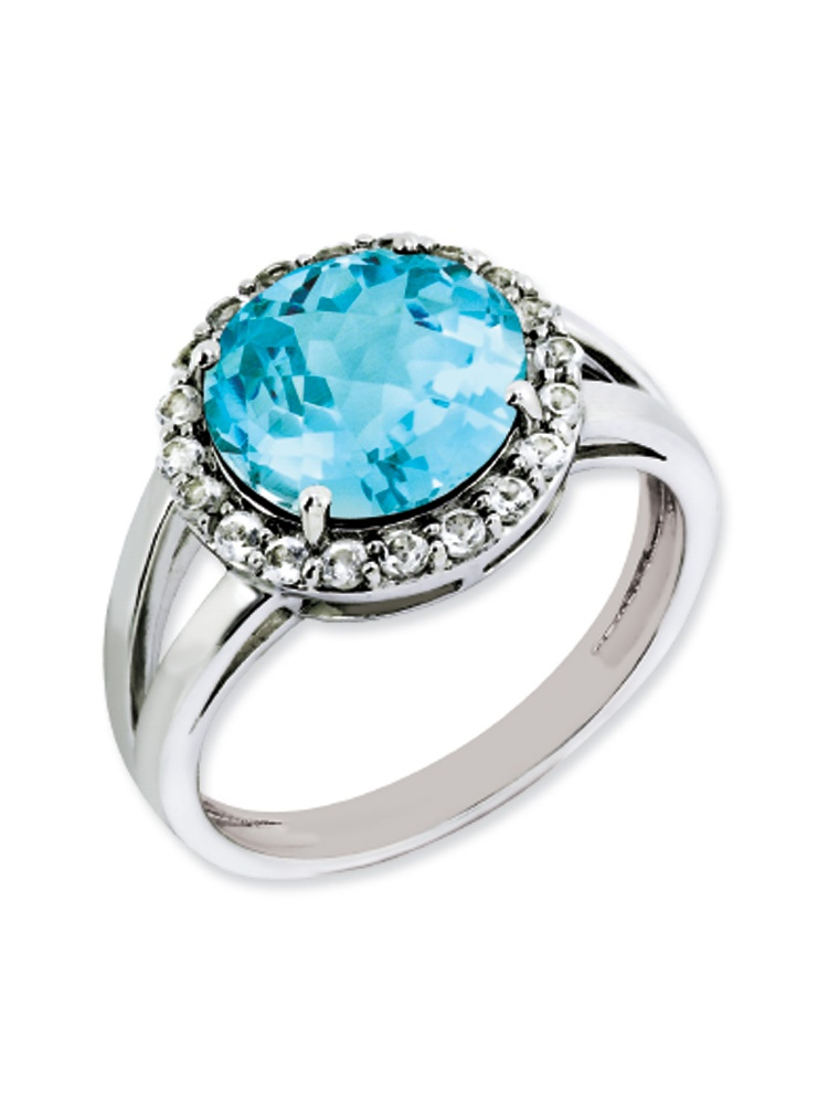 Light Blue And White Topaz Halo Ring in Sterling Silver by Black Bow Jewelry Company
