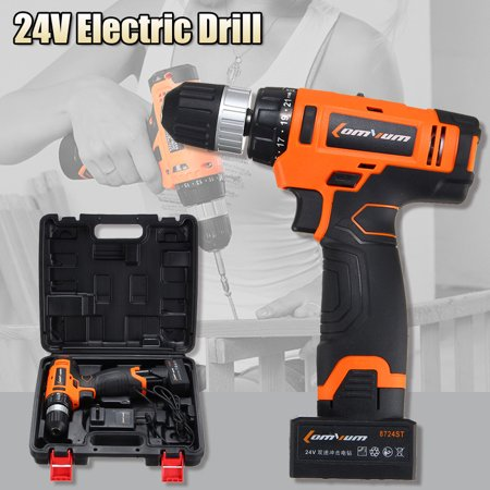 24V Cordless Electric Drill Screwdriver Rechargeable Li-Battery w/ 2 Speed +