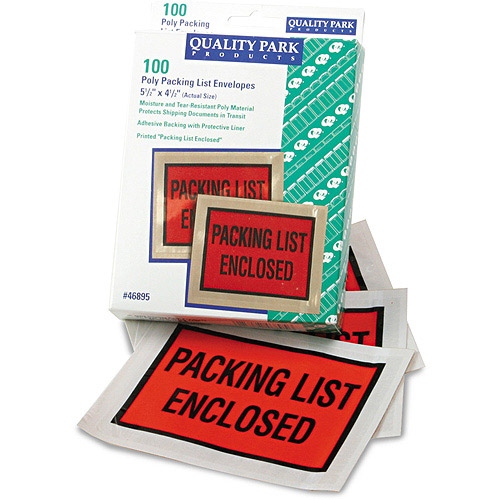 Quality Park Full-Print Self-Adhesive Packing List Envelope, 5 1/2 x 4 1/2