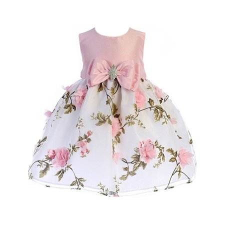 Crayon Kids Baby Girls Pink Floral Print Easter Flower Girl Dress (Colonial Dresses For Kids)