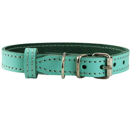 Genuine Leather Dog Collar Smallest Dogs Puppies 3 Sizes Turquoise (Neck: 9.5