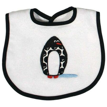 Raindrops Unisex Baby Penguin Appliqued Bib, Black