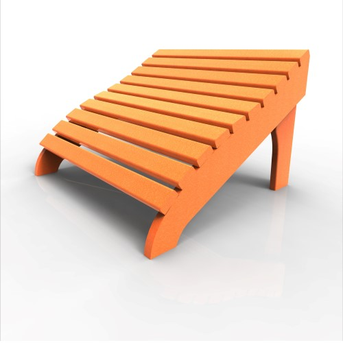 Contour Footstool by Malibu Outdoor, Tangerine
