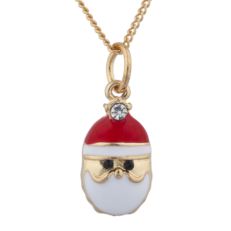 Lux Accessories GoldTone Santa Christmas Xmas Novelty Charm Pendant Necklace
