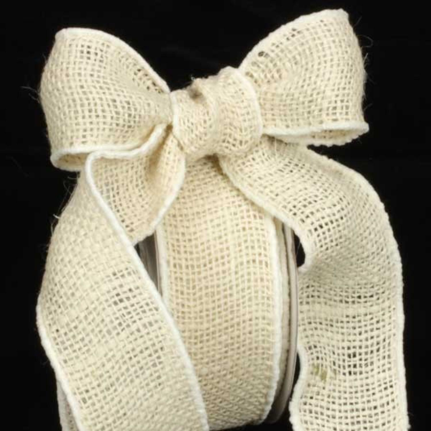 "Natural Cream Burlap Wired Craft Ribbon 2"" x 40 Yards"