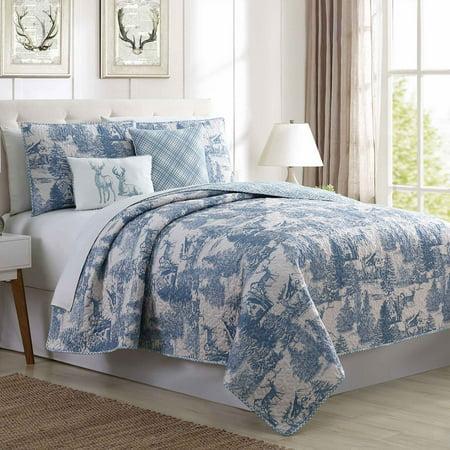 Pacific Coast Textiles 5 Piece Reversible Printed Quilt Set - Aspen Toile (Toile Coverlet)